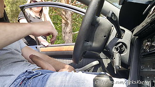 A stranger girl gets into my car and pulls out my cock