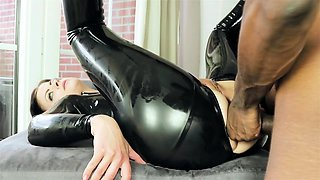 Brunette babe take BBC up her butt