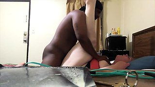 Fat mature wife has a hung black stud hammering her snatch