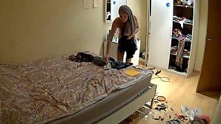 Kinky hidden cam vid of my own slim chick flashing her bum in the bedroom