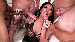 Epic gangbang video featuring skilled whore with tattooed body Lily Lane