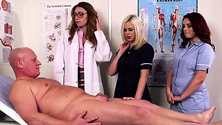 CFNM doctor babe makes patient spray jizz