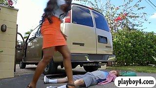 Huge breasts ebony milf screwed by big dick in the car