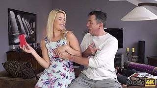 Chesty teen cheats on sleeping BF with his handsome daddy