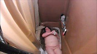 My hidden camera caught my fat tenant masturbating in bath