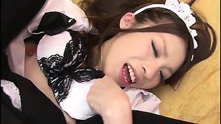 Sweet maid Nao Kojima gets her shaved pink pussy cleaned by
