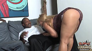 A huge breasted cougar gets pounded by two Blacks