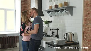 Common-law wife Emily Thorne gives a splendid blowjob and gets fucked in the kitchen