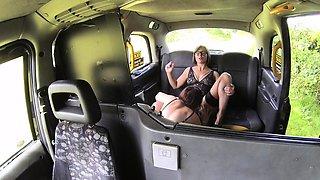 Female Fake Taxi Double dildo multiple orgasms