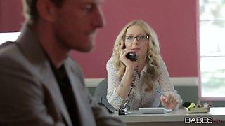 Sexy blonde secretary Karla Kush banged well by her horny boss
