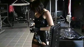 Strong dominatrix teaches her serf a tough lesson