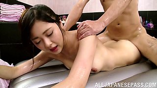 Oily nuru massage leads to passionate sex with sexy Aisa Fujii