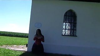 Leather Gothic Bride behind the chapel - Dirty Outdoor Blowjob Handjob with Leather Gloves - Cum on my Tits