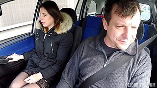 Fat driving instructor drills his student in car