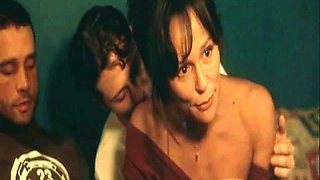 Christine Boisson nude showing bush while dancing in bed