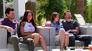 Mandy hooks up with chicks during full swap in the red room