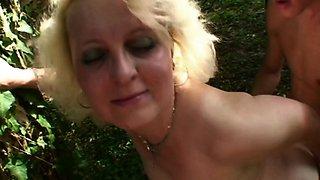 Blonde Mama Jana Receives Rough Fucking Outdoors