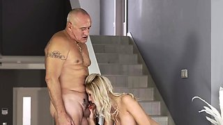 Daddy fucks girl and old women bondage Finally at home, even