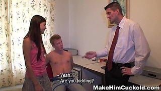 Make Him Cuckold - Amanda - Punished with girlfriend fu