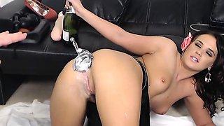 Solo fetish slut toys her pussy