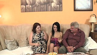 Very old couple fuck sons brunette teen gf