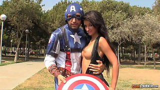 Captain America brings a slut home for hardcore sex