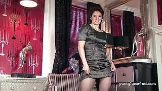 milf in high heels stripteases