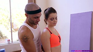 Zealous sporty hottie with big booty Kylie Quinn rides dick on fit ball