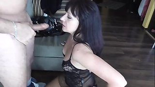 Arab in front his wife use white slave