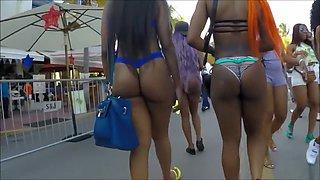 Ebony Brazilian babes with ghetto booties walk around in bikinis