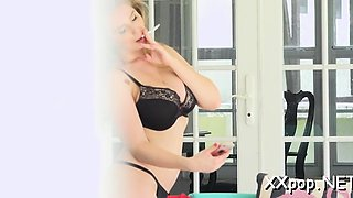 Beauty gets wicked on her body during a voyer scene