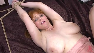 redhead lady is tied and fucked hard