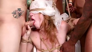 Bound pawg bride in interracial group