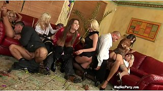Blonde cries out loud with the monster dick hitting hard on her favorite spot at an orgy