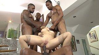 Daring pornstar with big tits gets gang banged by big black cocks