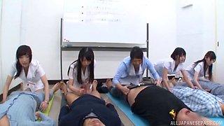 Amateur Asian dudes get their dicks pleasured by kinky Japanese babes