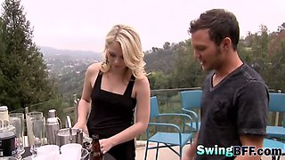 Swingers playing sexy bondage games in reality