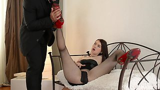 Misha Cross is a hot brunette seduced for a nasty fuck