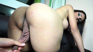 Curved shemale slut hardcore anal sex