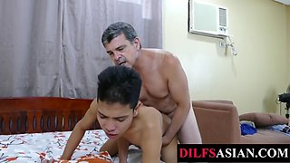 Slender Asian pounded by stripped DILF after enjoying a blowjob
