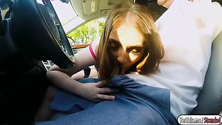 Hot and sexy babe rides strangers car and gets fucked
