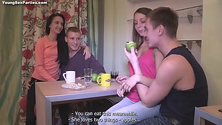 Russian Swingers Shares Their Wives In Foursome