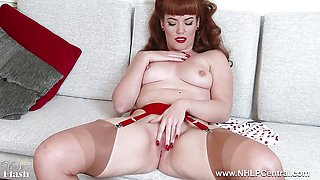 Redhead chick teases tits pussy in retro lingerie