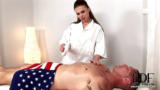 Sexy Masseuse Sucks Cock In 69