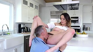 Jade bend over the kitchen counter wating to get penetrated