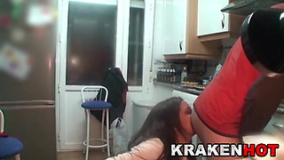Good blowjob in the kitchen with a MILF hot wife