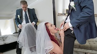 Man catches bride alone and shoves pecker in lecher's holes