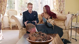 Black wife cuckolds her husband with a huge white cock