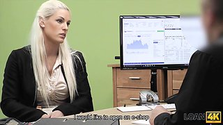 Nice model in lingerie accepts sex for cash in loan office