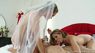 Nasty mommy Julia Ann and sexy bride Nicole Aniston fuck Johnny Castle